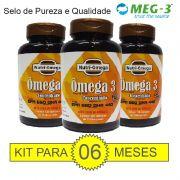 KIT PARA 06 MESES DE ÔMEGA 3 COM ALTO TEOR DE ÔMEGA 3 - EPA 660 DHA 440.