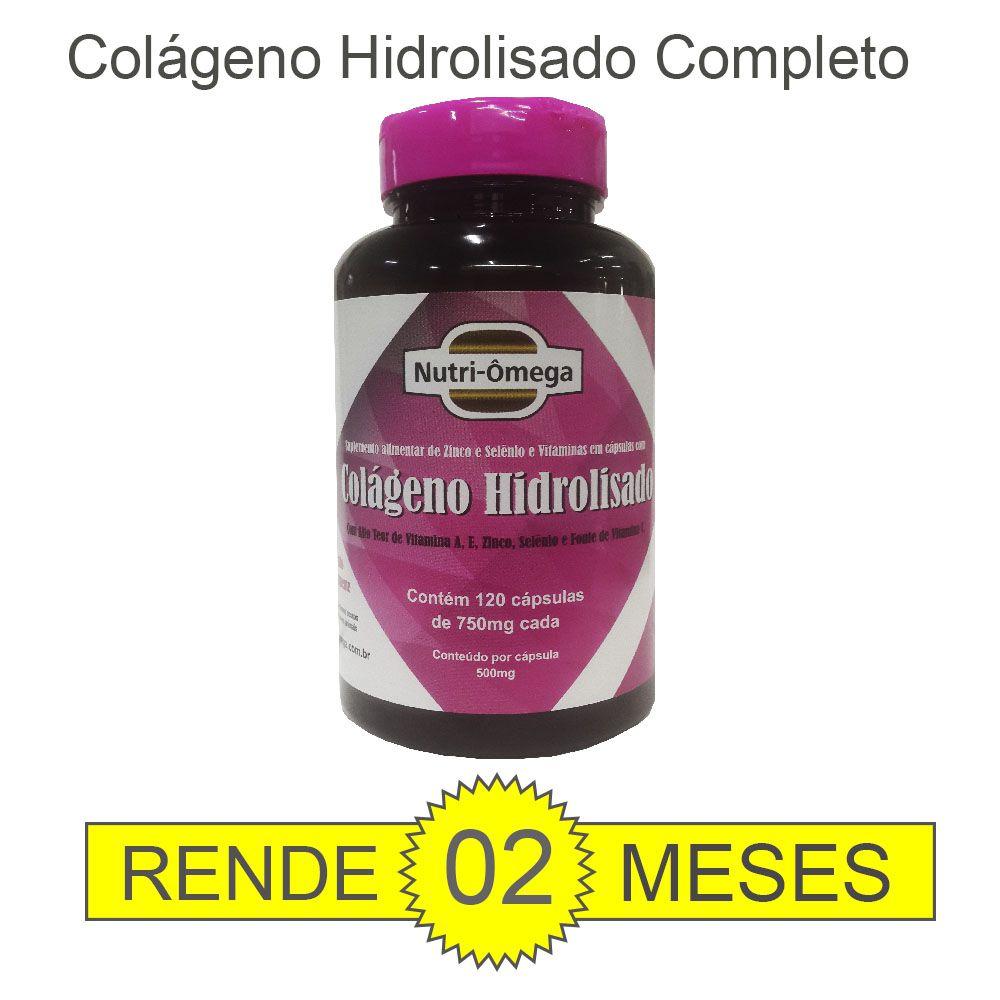 Colágeno Hidrolisado com Vitaminas e Minerais 120 cápsulas.