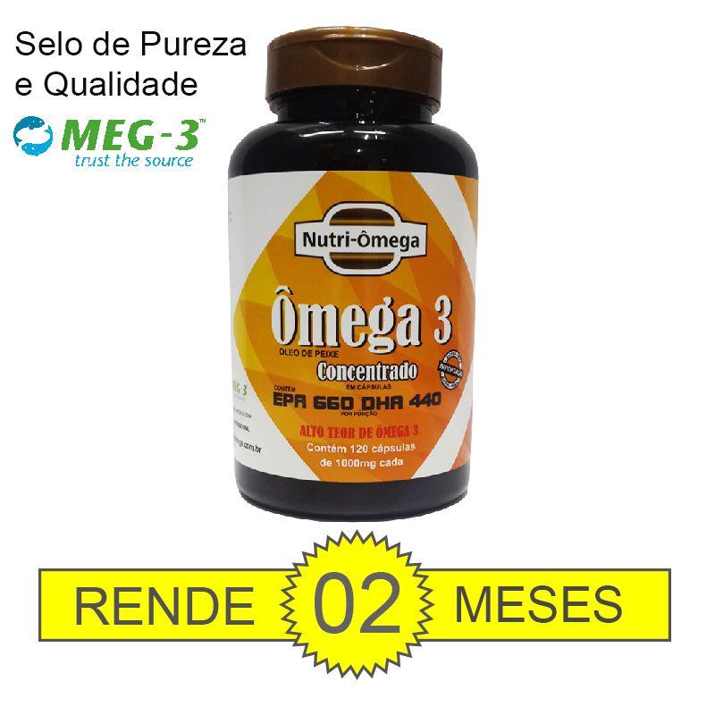 ÔMEGA 3 COM ALTO TEOR DE ÔMEGA 3 - EPA 660 DHA 440 FRASCO COM 120 CÁPSULAS.