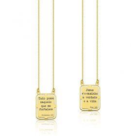 Escapulário Prata C/ Banho Ouro Vers. Bíblico João 14:6 / Filipenses 4:13  60cm 600173.60