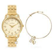 Kit Relógio Condor Feminino Dourado + Pulseira CO2035MUQ/K4D