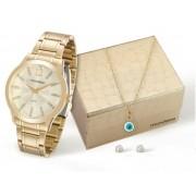 Kit Relógio Mondaine Feminino com Colar e Brincos 83328LPMKDE1K1