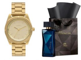 Relógio Euro Feminino + Presente Natura Essencial Oud