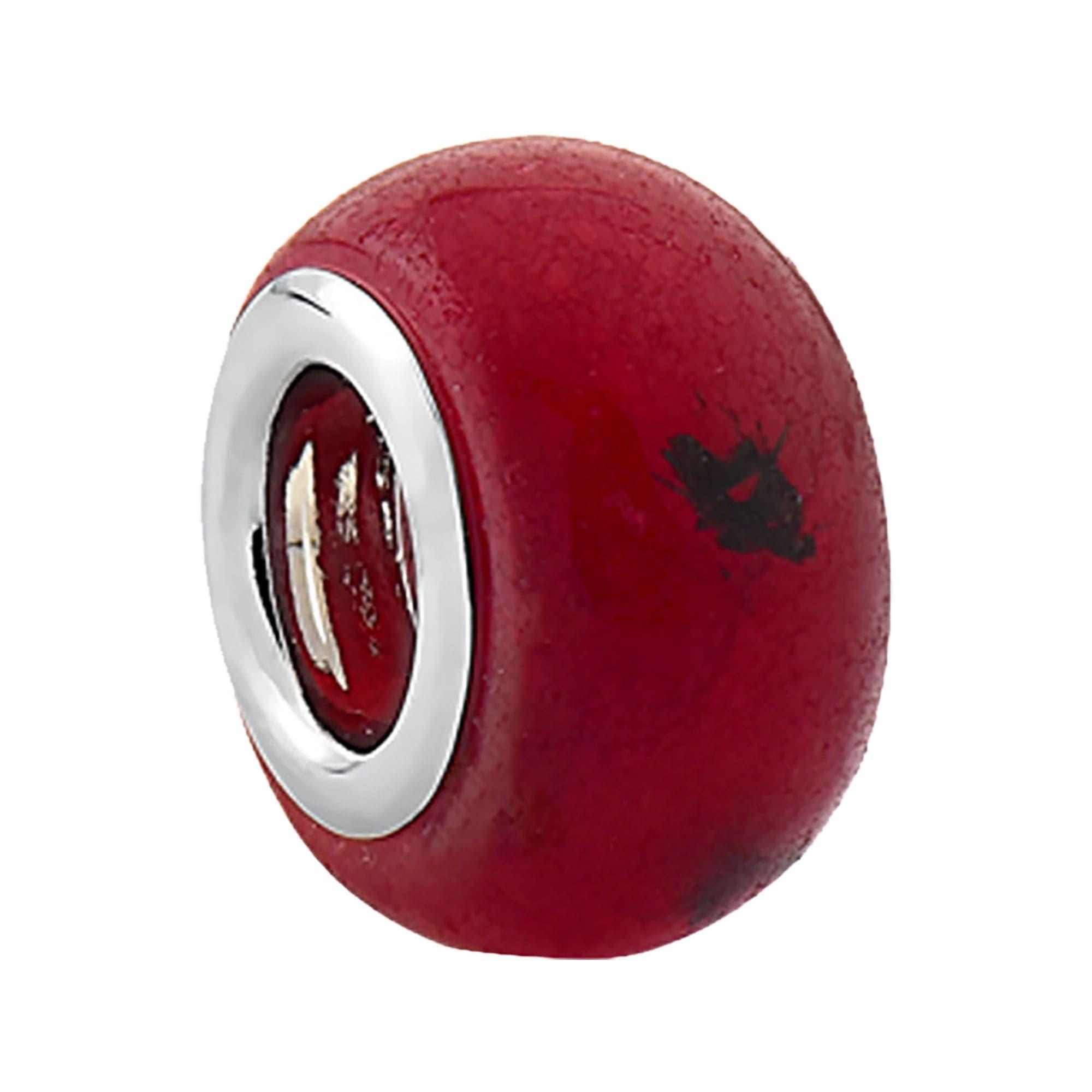 Berloque Separador de Prata Boleado Vermelho Rubi 3493011
