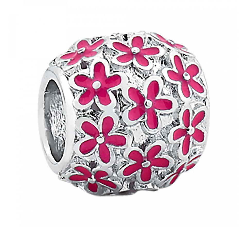 Berloque Separador de Prata Flores Rosa 3493005