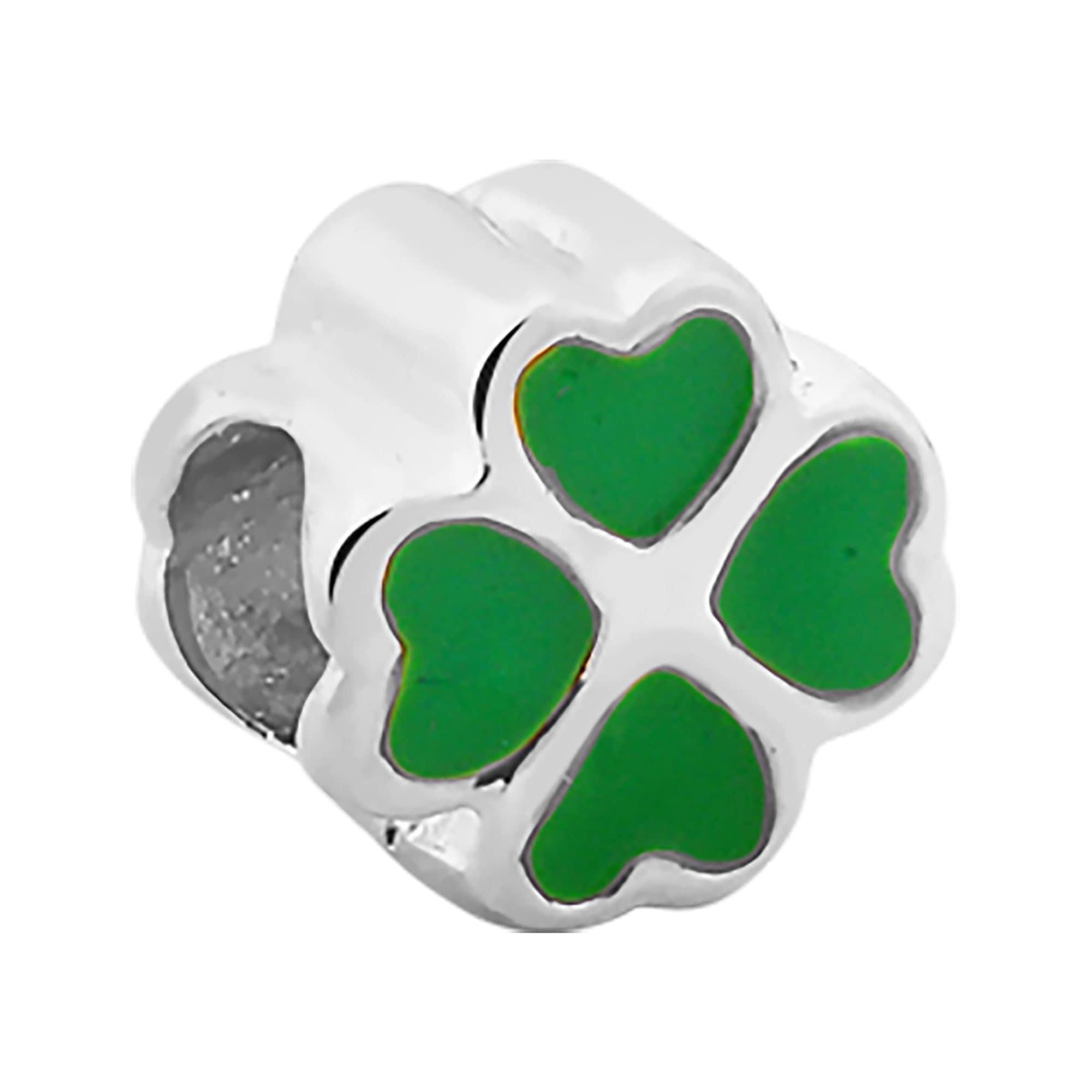 Berloque Separador de Prata Trevo Verde 3493001