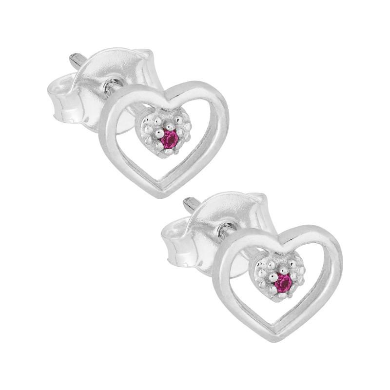 Brinco Prata Coração com Zircônia Vermelha 6x7mm