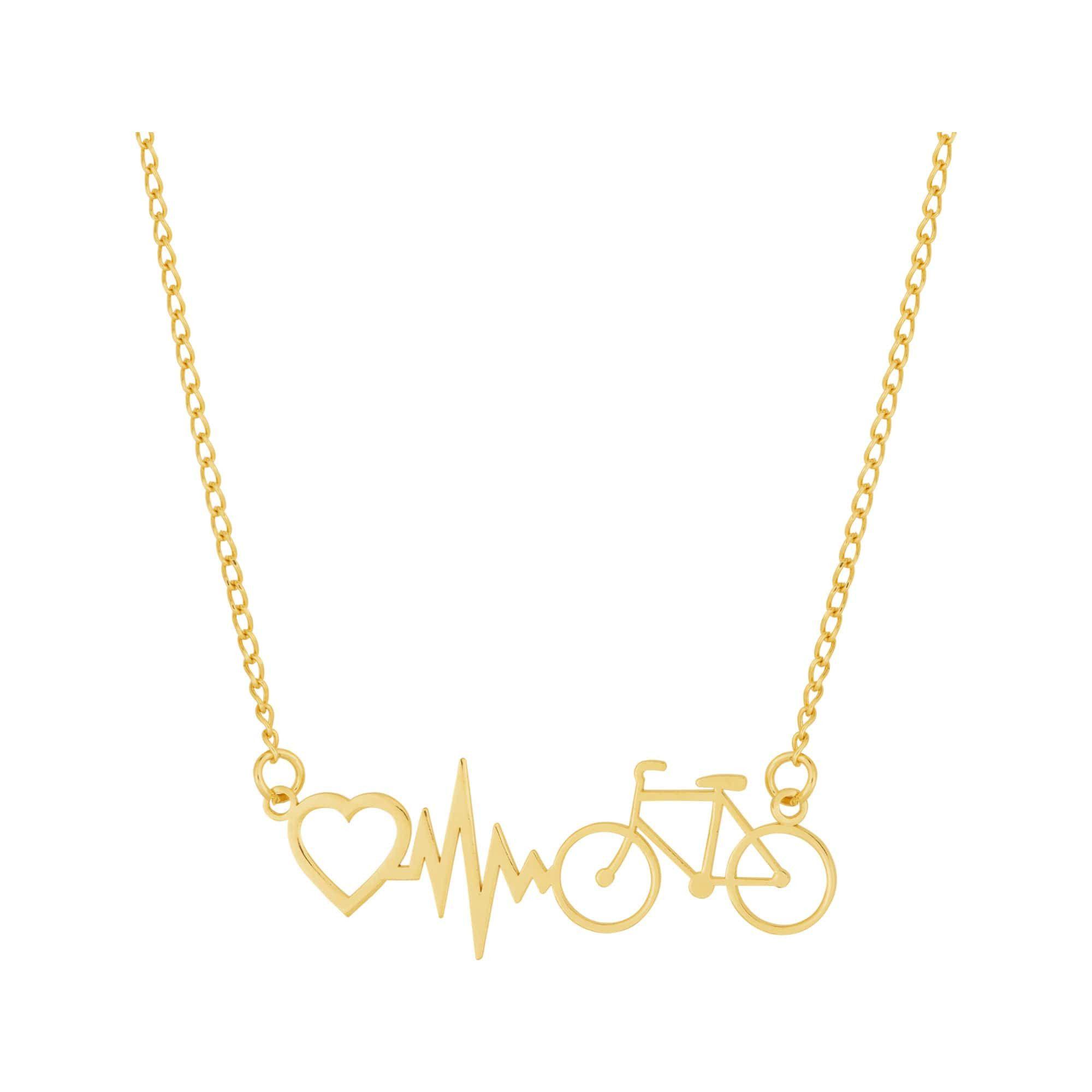 Colar de Aço Dourado (Gold IPG) Bike Batimento Coração 45cm 417145