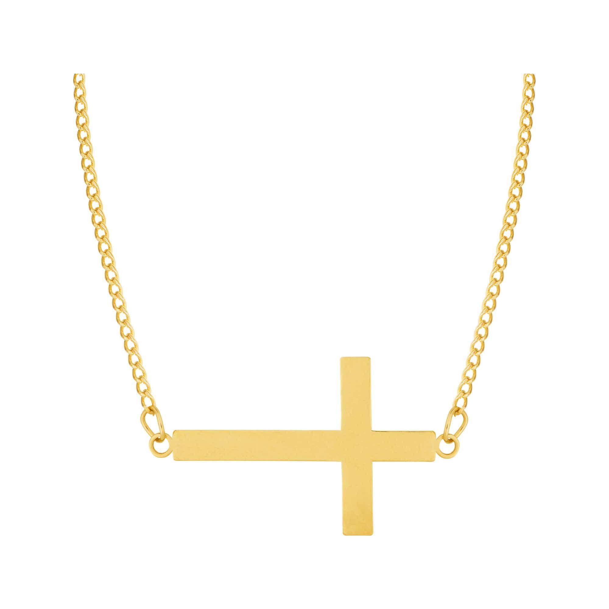 Colar de Aço Dourado (Gold IPG) Cruz 418645