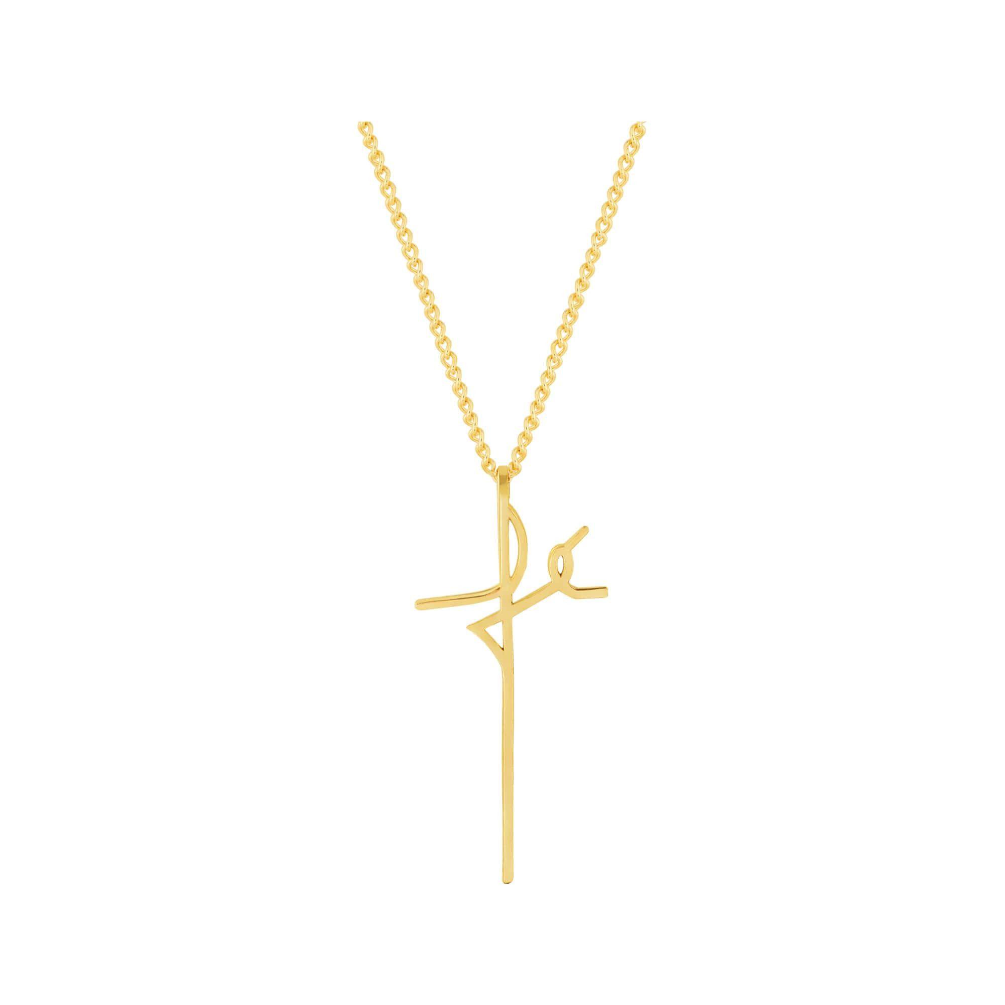 Colar de Aço Dourado (Gold IPG) Fé 45cm 417645