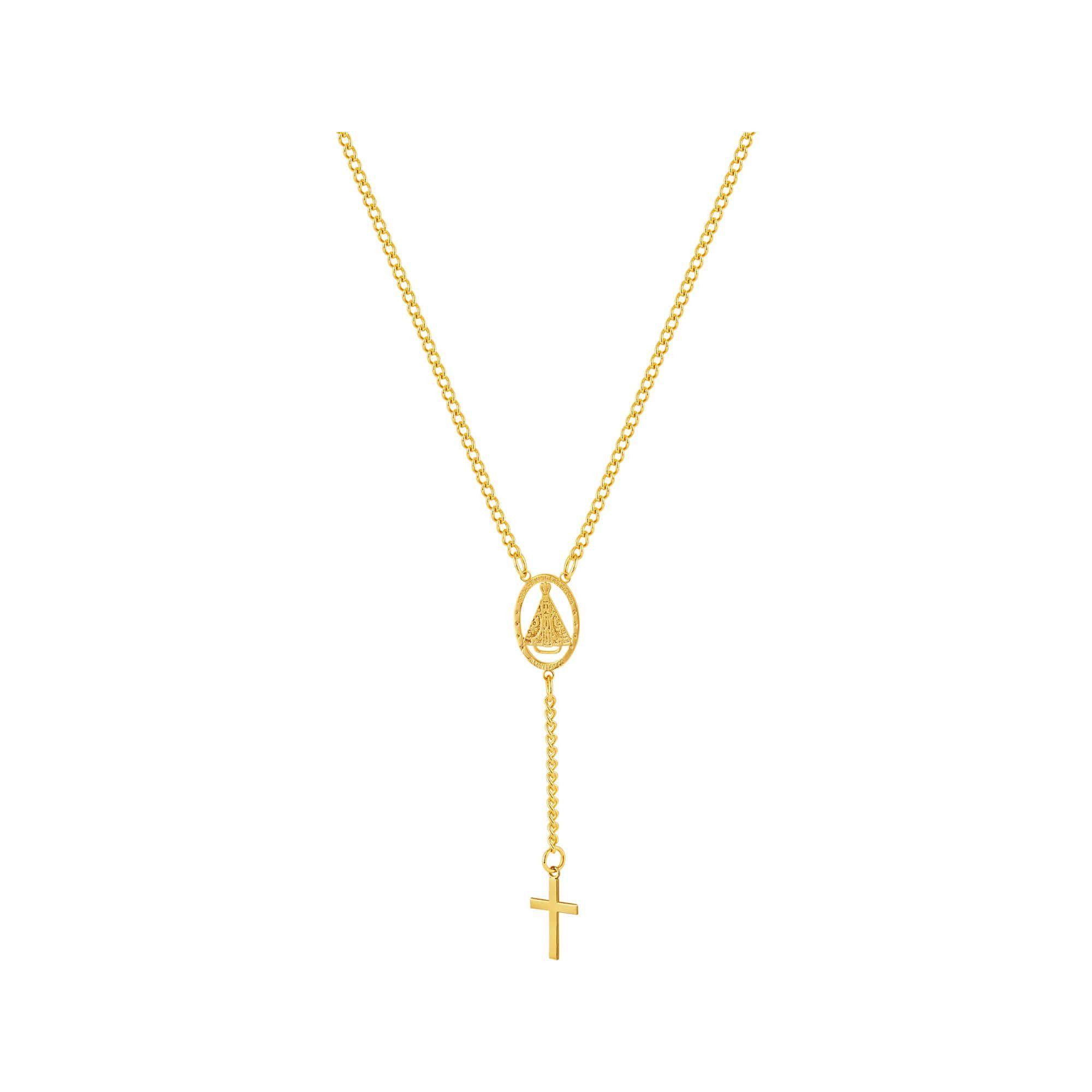 Colar de Aço Dourado (Gold IPG) GLAM Groumet Terço NSra. Aparecida 45cm 2933745