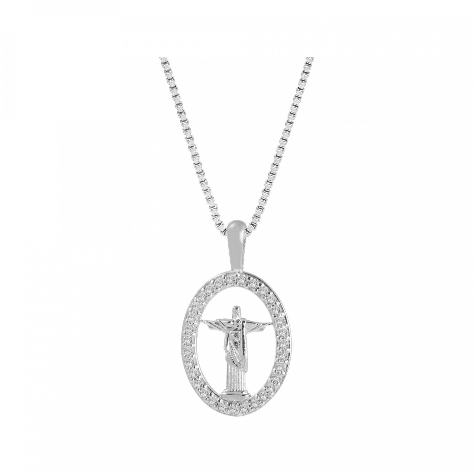 Colar de Prata Pingente Cristo Redentor 3419945