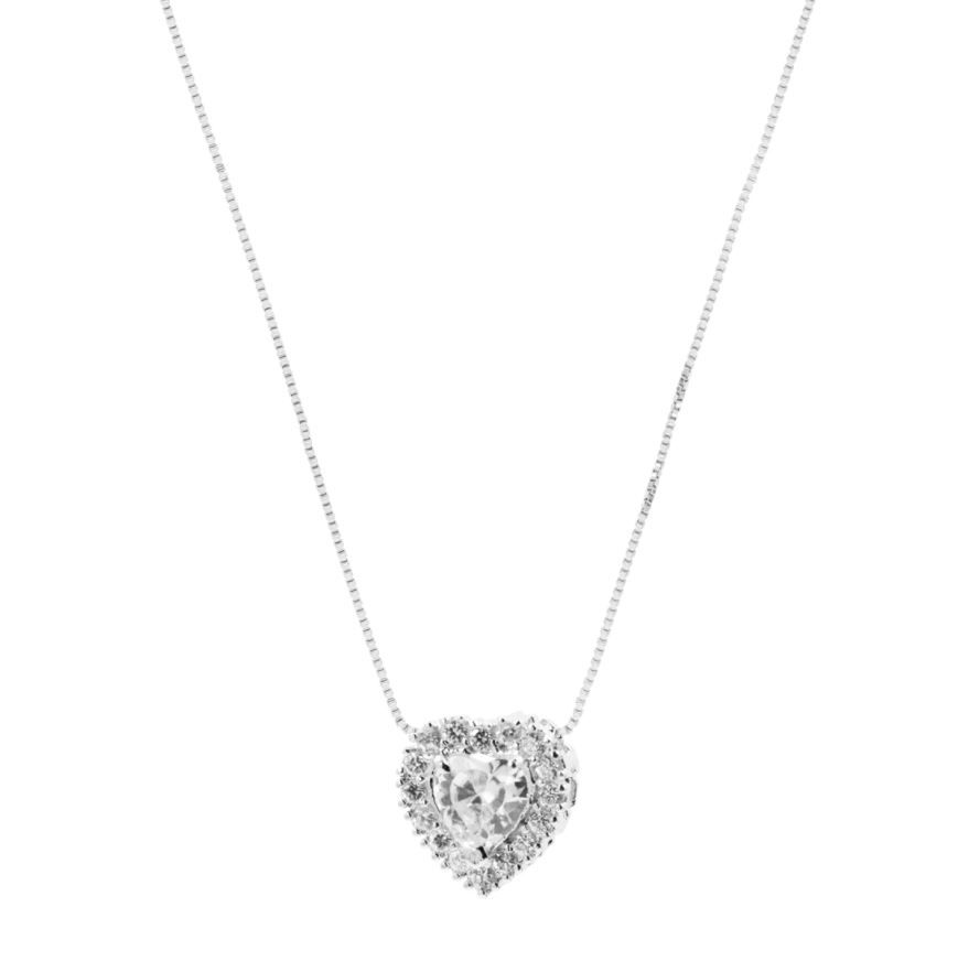 Conjunto Convex Prata Coração Zircônia Branca - Cordão + Brinco
