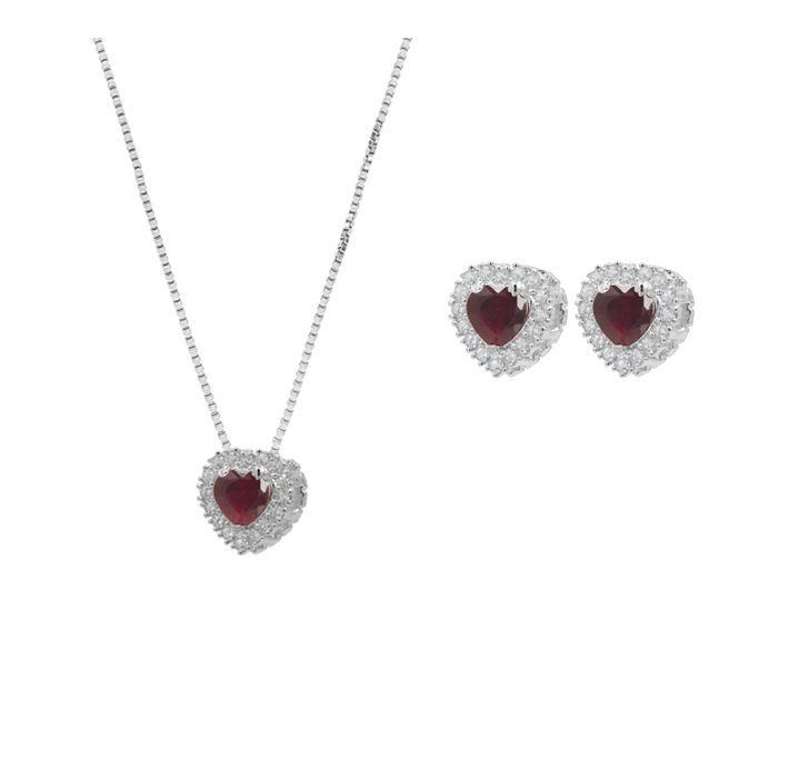 Conjunto Convex Prata Coração Zircônia Vermelha - Cordão + Brinco
