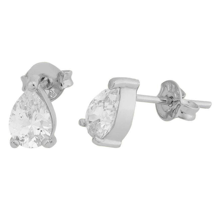 Conjunto Convex Prata Gota Crystal - Cordão Gravatinha + Brinco