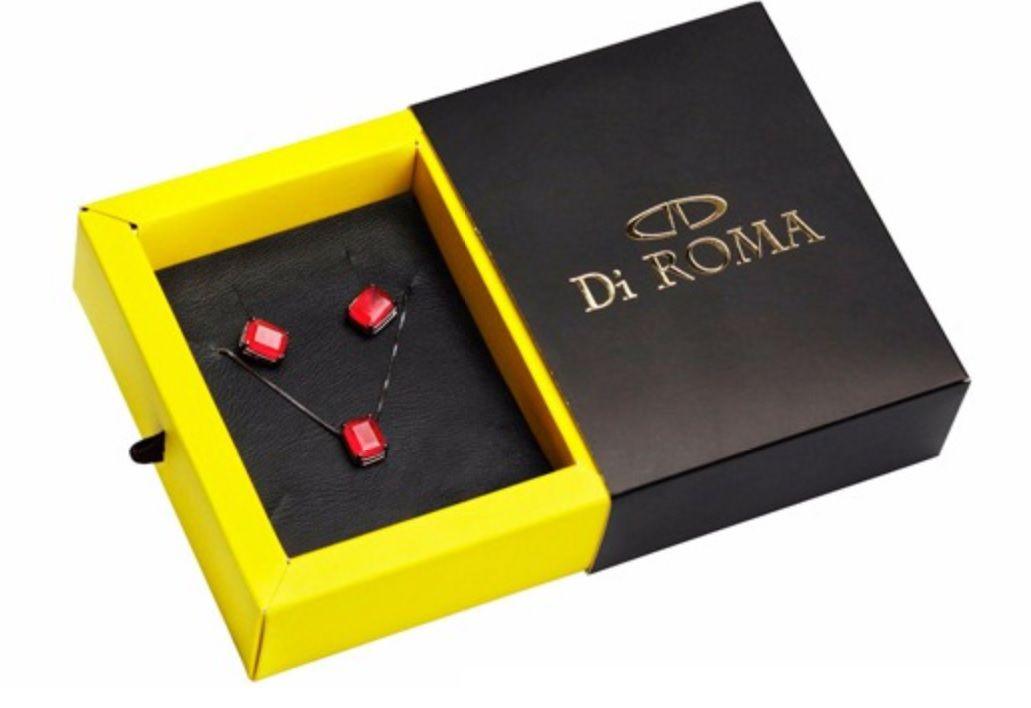 Conjunto Di ROMA Gargantilha e Brinco de Prata com ródio negro e Rubelita 320698-1