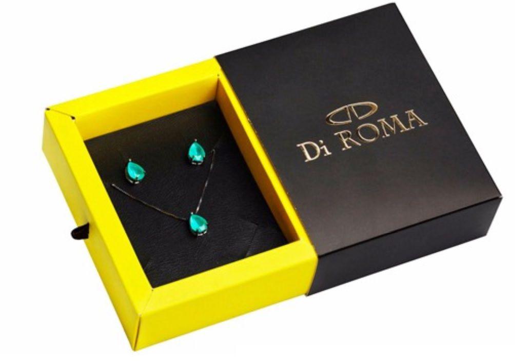 Conjunto Di ROMA Gargantilha e Brinco de Prata com ródio negro Ped. Verde Esmeralda 320699-3