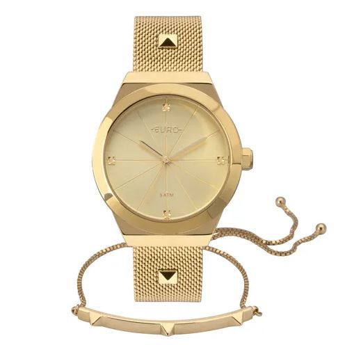 7ddef5e549 Kit Relógio Euro Spike Glow Dourado Feminino EU2035YRJ K4D ...