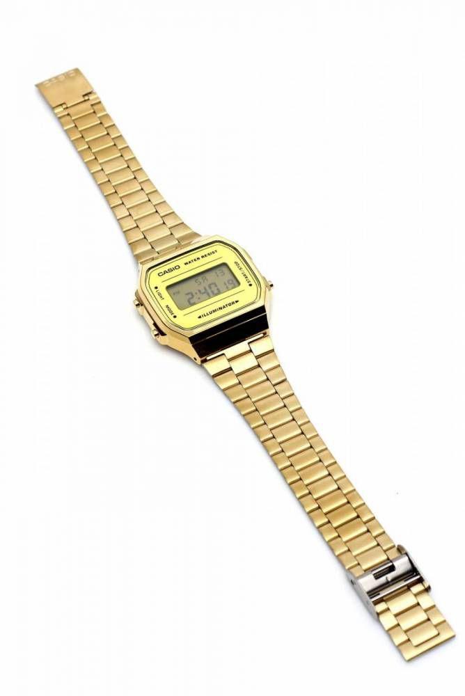 Relógio Casio Vintage Espelhado Dourado Unissex A168WEGM-9DF
