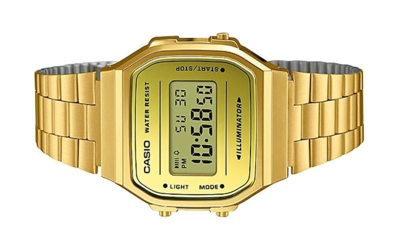 1d75e95266d ... Relógio Casio Vintage Espelhado Dourado Unissex A168WEGM-9DF ...