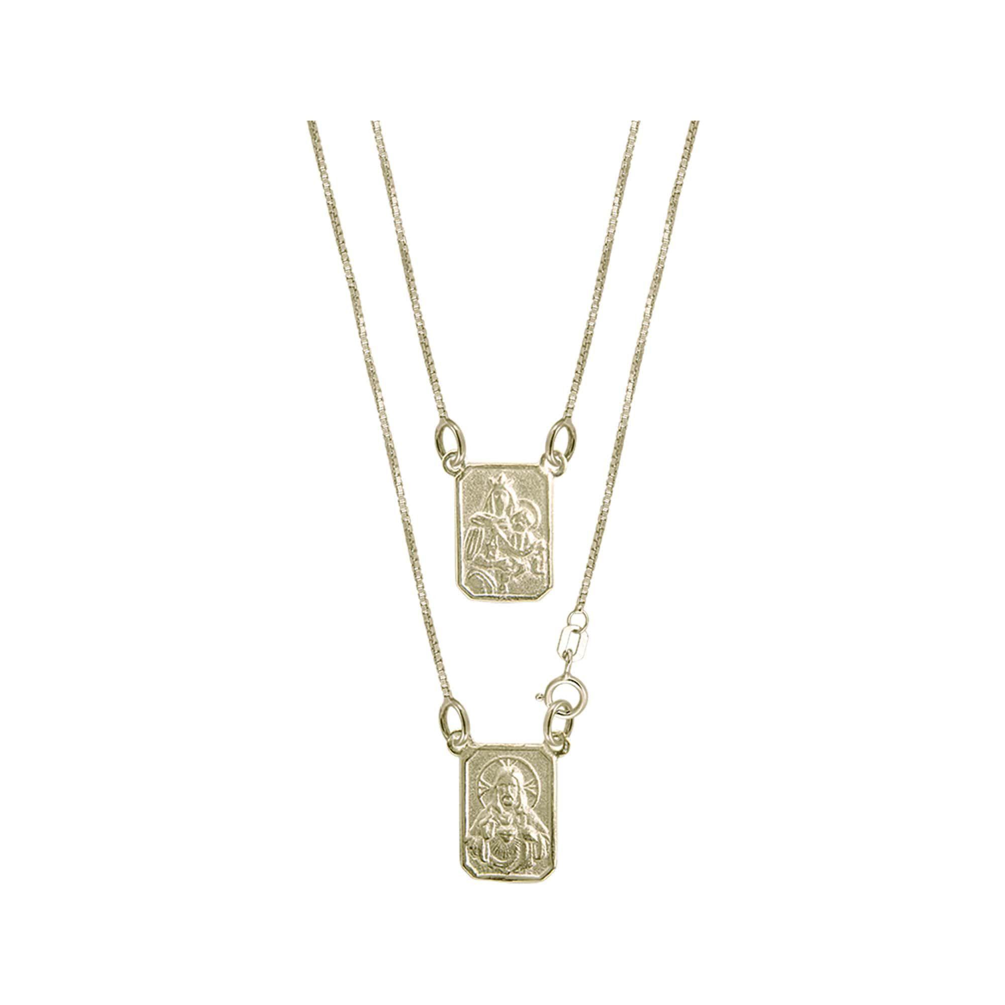 Escapulário Prata/Banho Ouro 18K  S.C. Jesus e N.Sra.Carmo - Curto 45cm 3202745