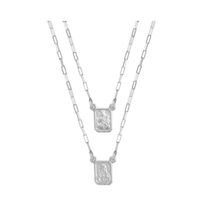 Escapulário Prata Mini medalha Sag. Cor. Jesus / N.Sra. Carmo 60Cm 3208960