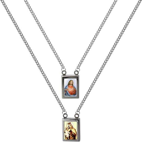 Escapulário Aço Resina NSra. do Carmo e S. C. de Jesus Trad 60cm 2434260