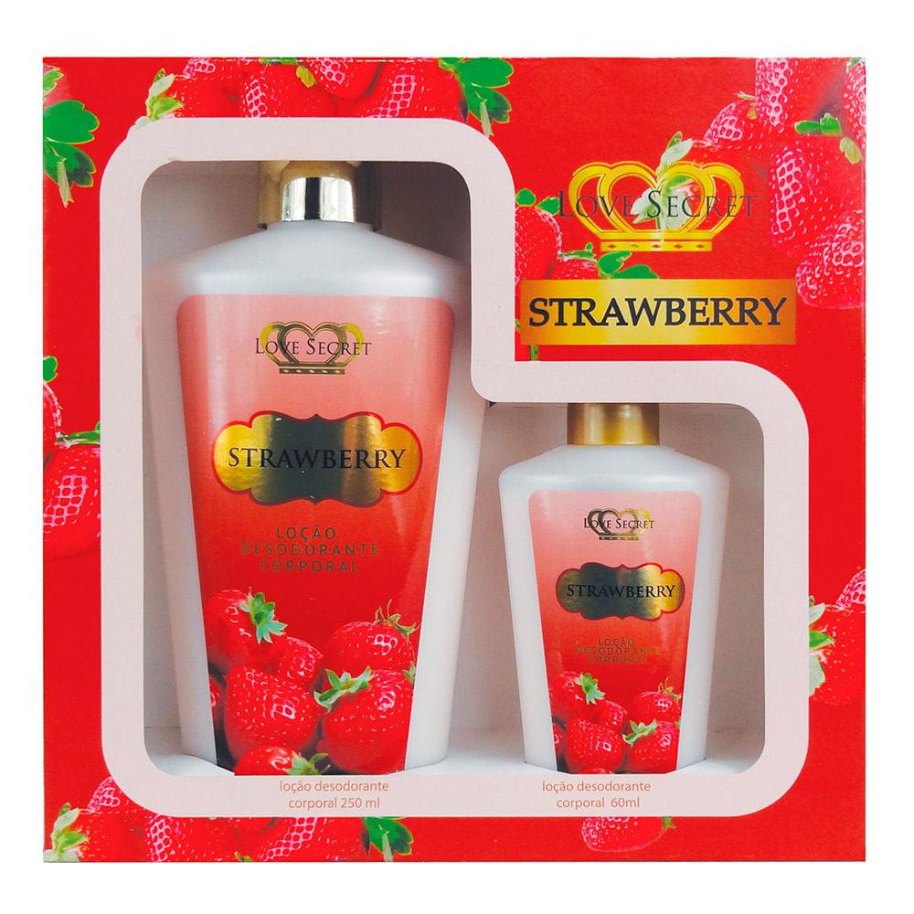 Kit Love Secret Body Lotion Strawberry 250ml + 60ml