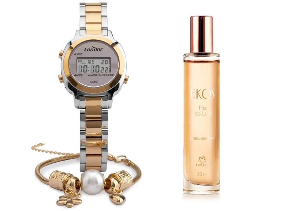 Kit Relógio Condor Feminino COJH512AK/5K + Ekos Flor do Luar 20 ml