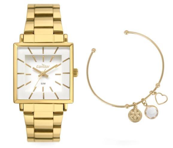 Kit Relógio Condor Feminino Quadrado Elegante Dourado CO2035EXM/K4B