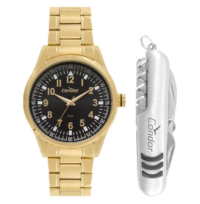 Kit Relógio Condor Masculino Dourado com Canivete CO2036KWES/K4P