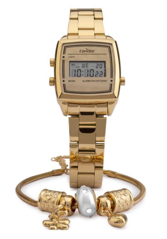 Kit Relógio Feminino Condor Mini Digital Dourado COJH512AC/4D