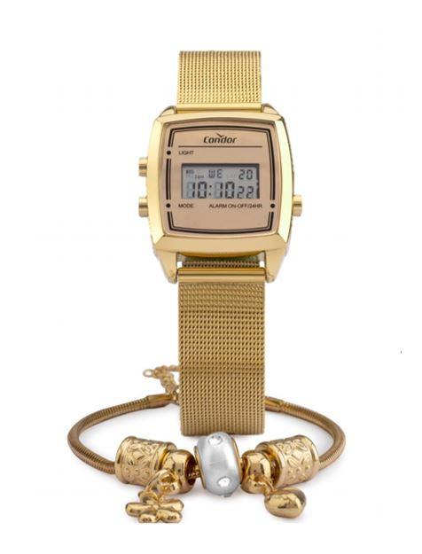 Kit Relógio Feminino Condor Mini Digital Dourado COJH512AE/4D