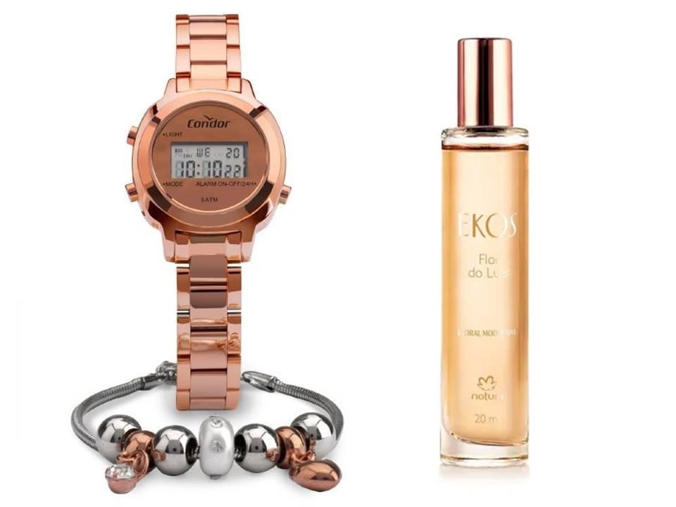 Kit Relógio Condor Mini Feminino COJH512AJ/K4J + Ekos Flor do Luar 20 ml