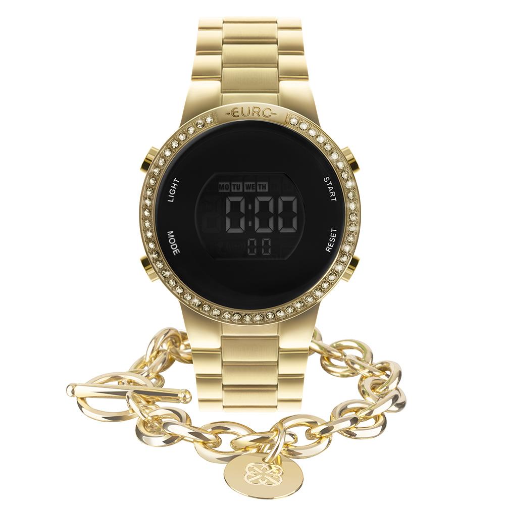 Kit Relógio Euro Feminino Fashion Fit Glam Dourado EUBJ3279AG/K4D
