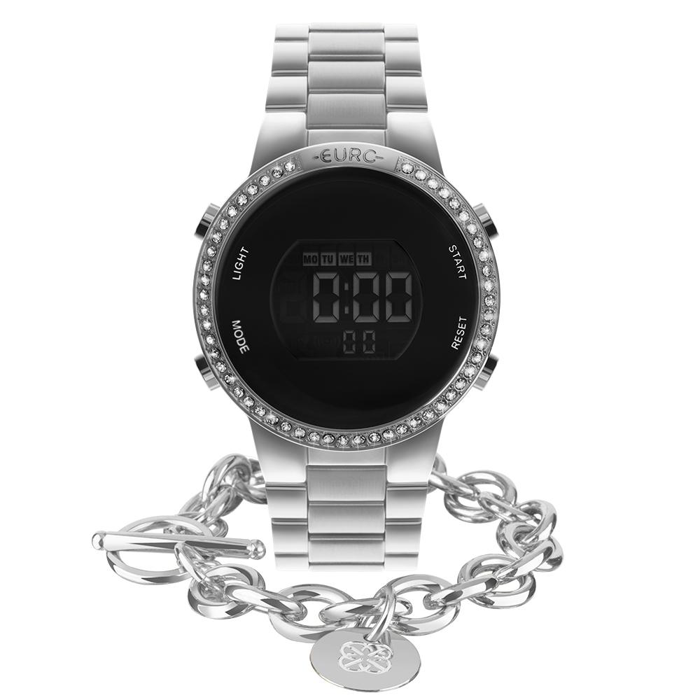 Kit Relógio Euro Feminino Fashion Fit Glam Prata EUBJ3279AH/K3K