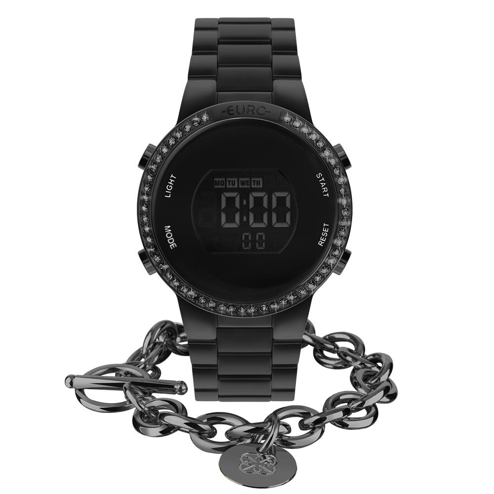 Kit Relógio Euro Feminino Fashion Fit Glam Preto EUBJ3279AJ/K4P