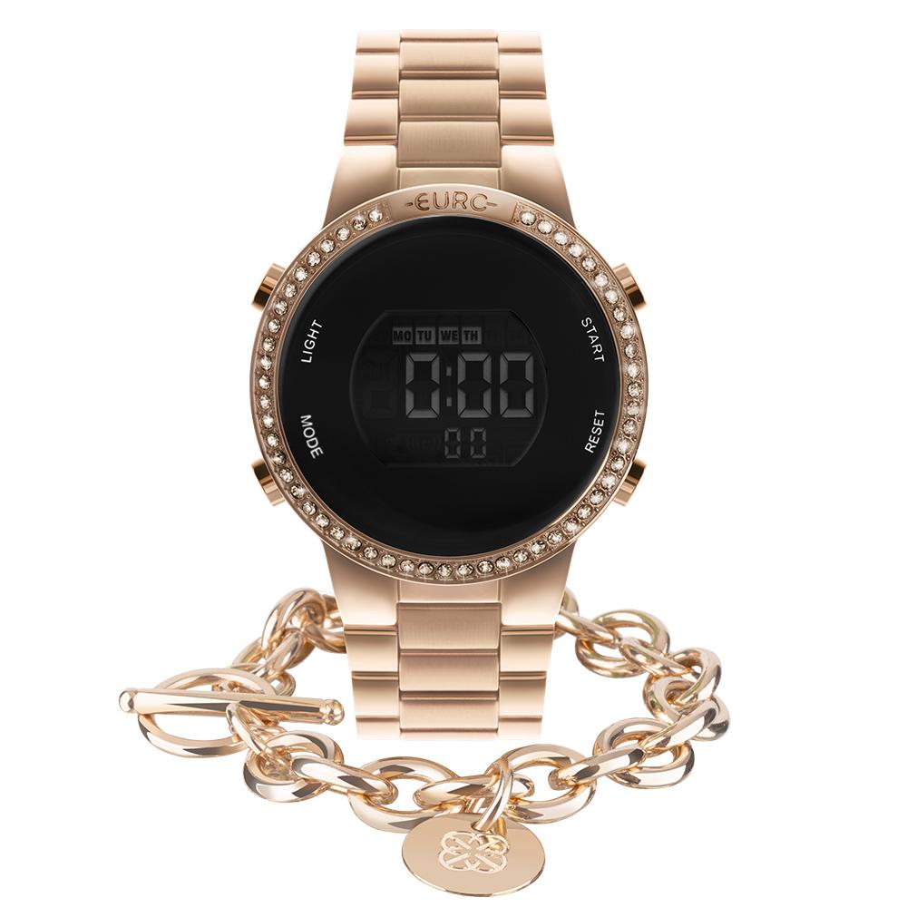 Kit Relógio Euro Feminino Fashion Fit Glam Rosé EUBJ3279AI/K4J