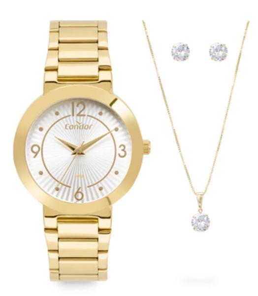 Kit Relógio Feminino Condor Dourado COPC21AEAO/K4B