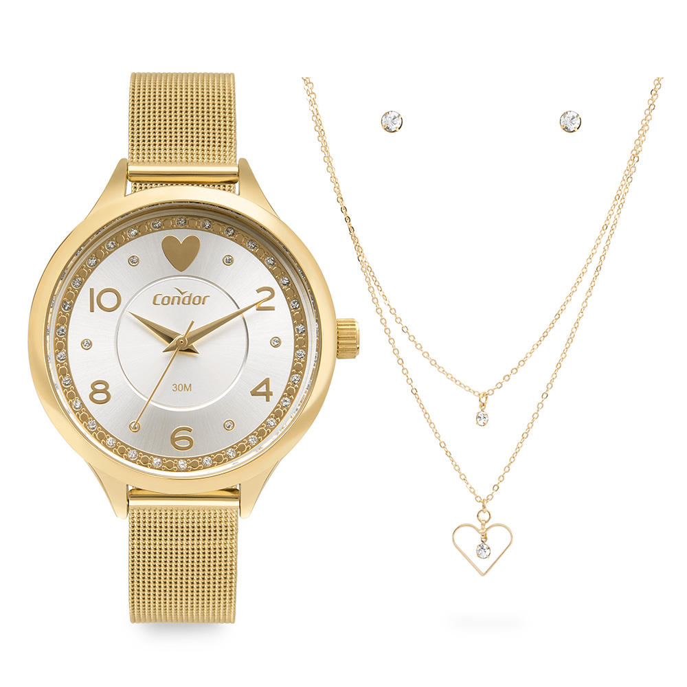 Kit Relógio Feminino Condor Dourado COPC21AECB/K4D
