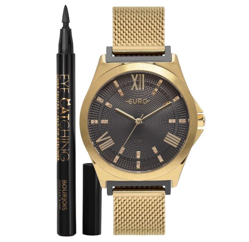 Kit Relógio Feminino Euro + Delineador Bourjois EU2036YPL/K5F