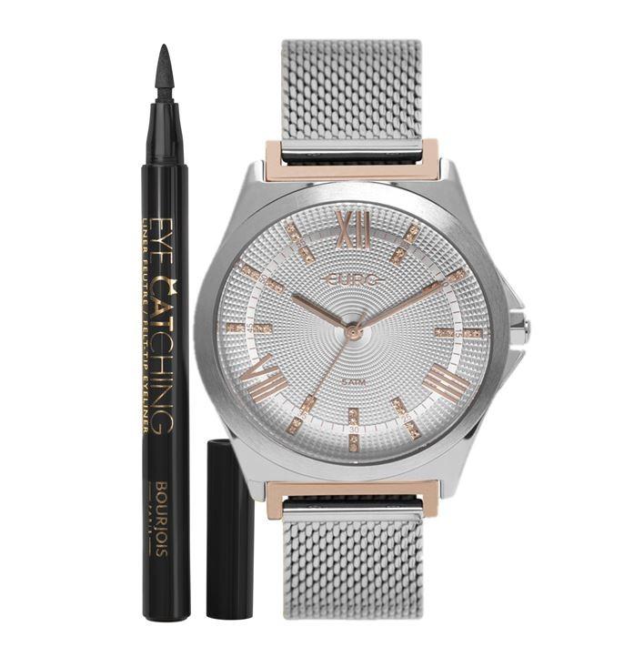 Kit Relógio Feminino Euro + Delineador Bourjois EU2036YPP/K5