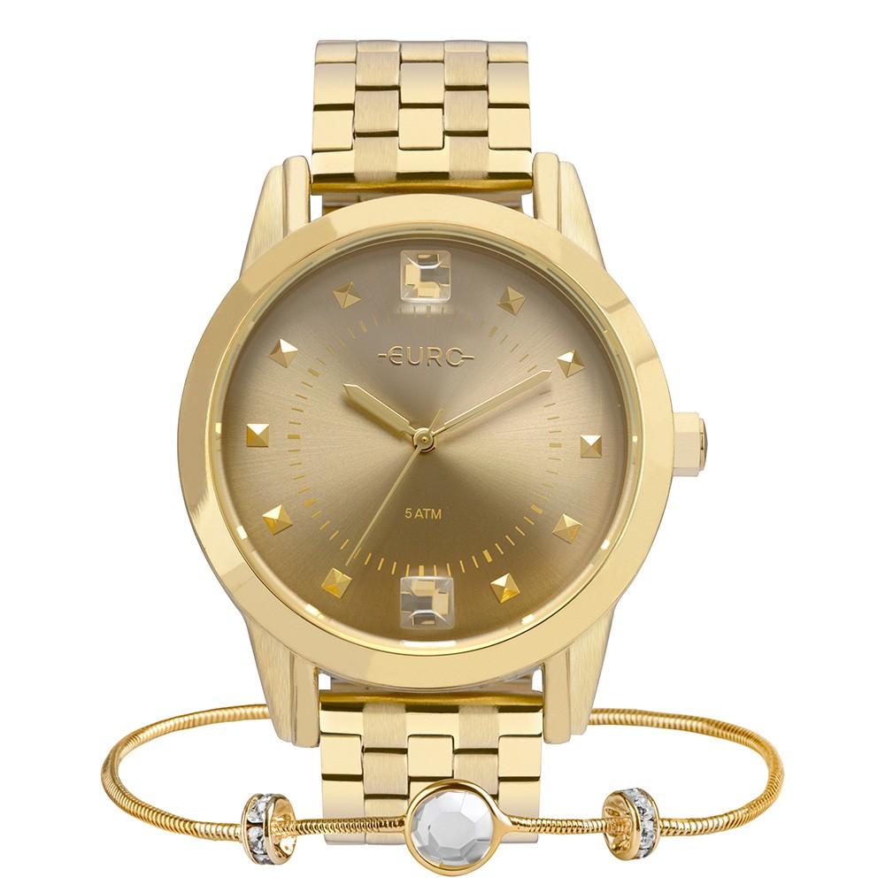 Kit Relógio Feminino Euro Spike Illusion Dourado + Pulseira EU2035YRT/K4D