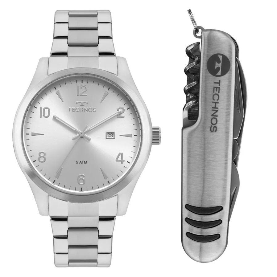 Kit Relógio Masculino Technos Classic Steel Prata 2115MRBS/K1K