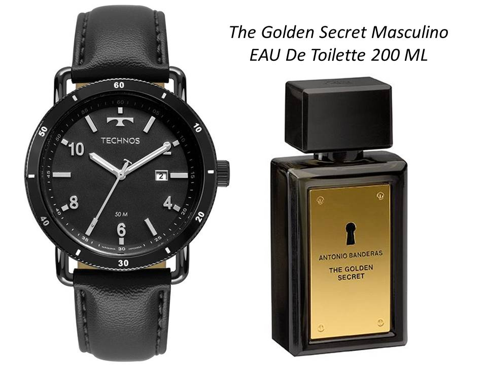 Relógio Technos Couro 2115MUS/2P + The Golden Secret Masculino