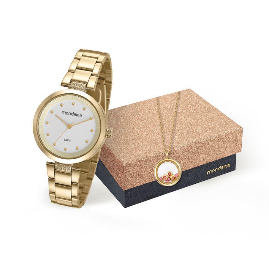 Kit Relógio Mondaine Feminino com cordão 53544LPMVDE1K1