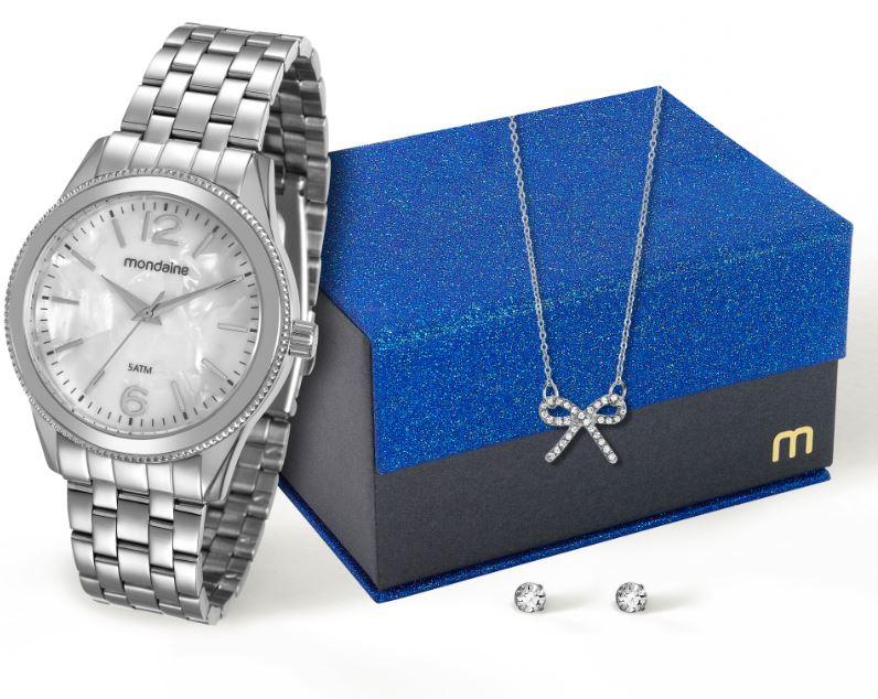 Kit Relógio Mondaine Feminino com Brincos e Colar 94862L0MKNE4K1