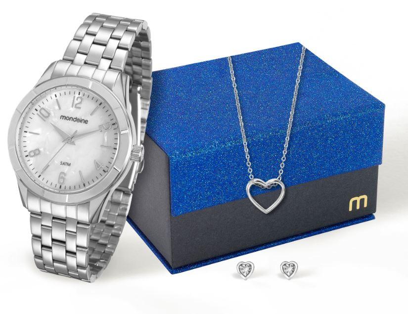 Kit Relógio Mondaine Feminino com Brincos e Colar 94865L0MKNE4K2