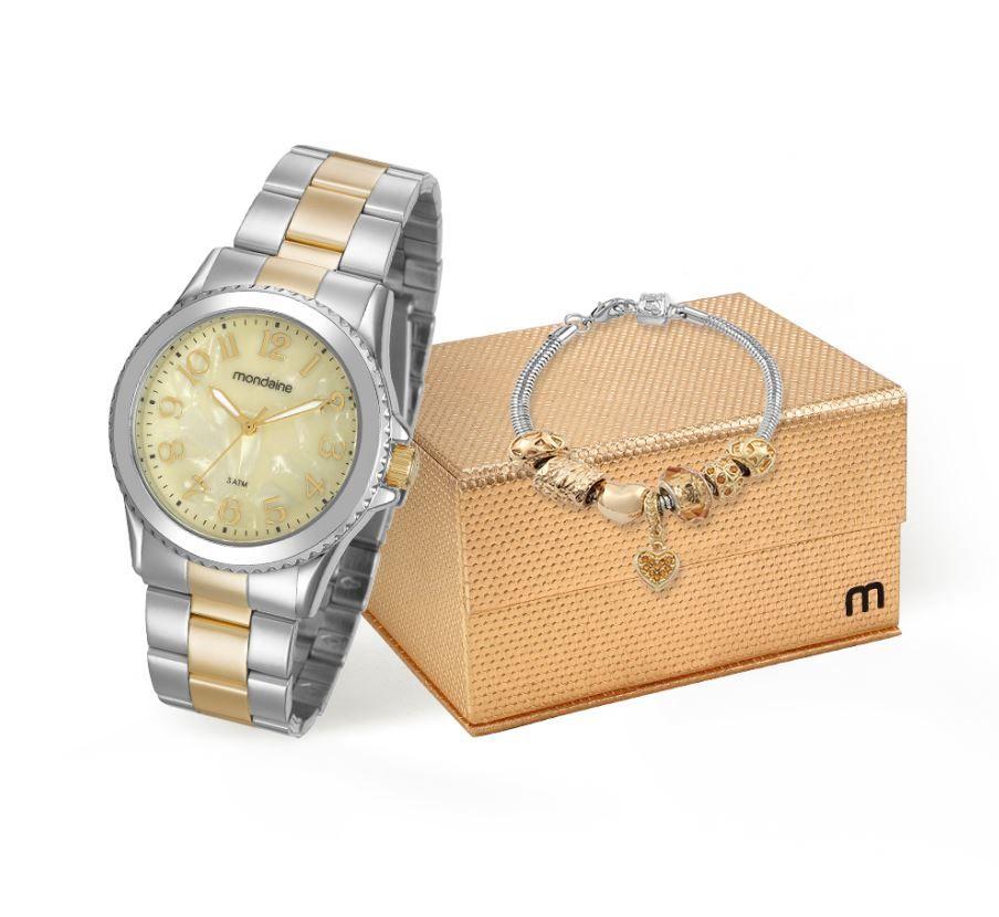 Kit Relógio Mondaine Feminino com Pulseira Berloque 99270LPMKBE2K1