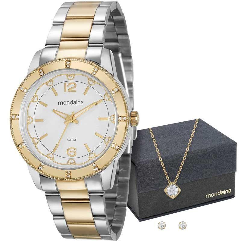Kit Relógio Mondaine Feminino + Cordão e Brincos 99165LPMVBE3K1